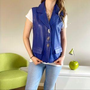 Vintage blue lamb leather retro vest